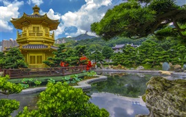 Preview wallpaper Hong Kong, China, pagoda, pond, trees, park