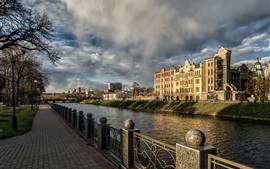 Kharkov, Ukraine, cathedral, river, houses