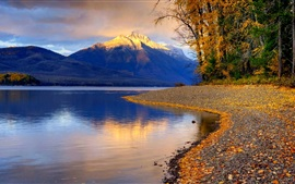 Lake, trees, sands, mountains, clouds, autumn