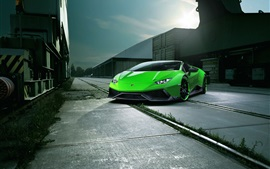 Preview wallpaper Lamborghini Huracan Spyder green supercar front view, night, city
