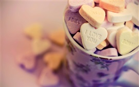 Preview wallpaper Love hearts candy, cup, bokeh