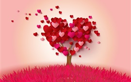Preview wallpaper Love hearts tree, pink and red, romantic style