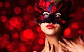 Preview wallpaper Masquerade, mask, feathers, make-up girl, red lip
