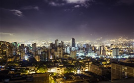 Medellin, Republic of Colombia, city night, buildings, lights