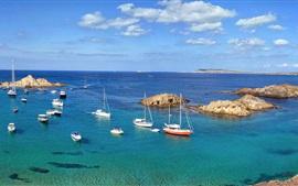 Minorque, mar, isla, barcos, España