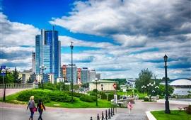 Minsk, Belarus, cidade, casas, nuvens