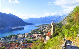 Montenegro, city, houses, bay, river, mountains