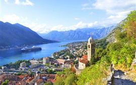 Черногория, город, дома, залив, река, горы