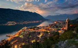 Montenegro, evening, bay, city, mountains, houses, lights