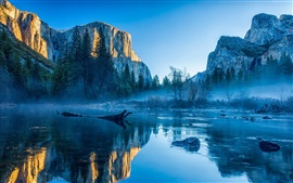 Preview wallpaper Mountains, lake, trees, sky, fog, dawn