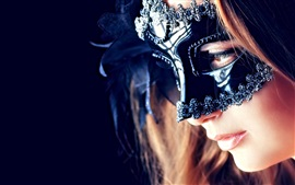 Preview wallpaper Mysterious girl, mask, eyes, mouth
