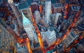 New York, Manhattan, USA, night, lights, skyscrapers