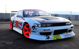 Preview wallpaper Nissan Silvia blue car front view