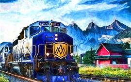 Preview wallpaper Painting, train, rails, mountains, house, clouds