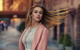 Pink dress fashion girl, hair flying in wind