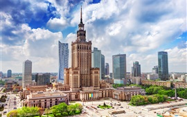 Poland, Warsaw, city, Palace of science, skyscrapers, clouds