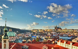 Prague, Czech Republic, city, buildings, houses, clouds