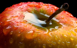 Preview wallpaper Red apple close-up, water droplets