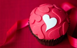 Preview wallpaper Red cupcake, cake, love hearts