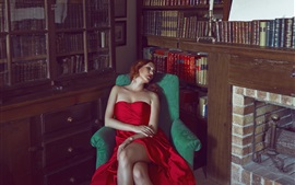 Preview wallpaper Red dress girl sleep in sofa