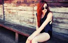 Preview wallpaper Red hair fashion girl sit at chair