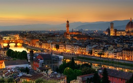 Preview wallpaper Roman Empire, city night, buildings, houses, lights, Florence, Italy