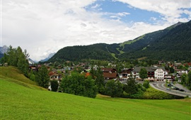 Seefeld, Austria, mountains, town, trees, houses, slope, clouds