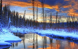 Preview wallpaper Snow, winter, mountains, trees, river, sunset