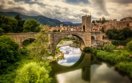 Preview wallpaper Spain, Catalonia, Fluvia river, houses, bridge, grass, clouds