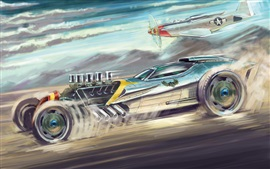Sports car and aircraft, art painting