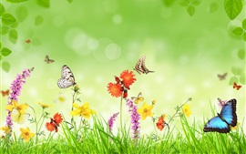 Preview wallpaper Spring, flowers, grass, butterfly, green background, creative design