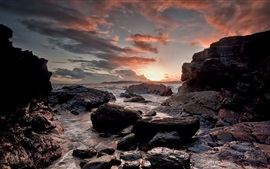 Stones, rocks, sea, sunset, clouds