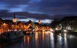 Страсбург, Франция, ночь, река, дома, фонари