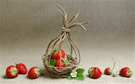 Preview wallpaper Strawberries, basket, twigs