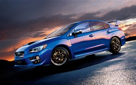 Preview wallpaper Subaru STI WRX blue car side view