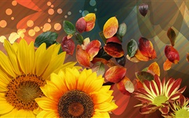 Preview wallpaper Sunflowers and red leaves