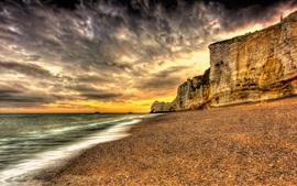 Закат, пляж, побережье, море, закат, облака, песок, стиль HDR