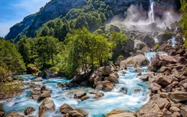 Preview wallpaper Switzerland nature landscape, waterfall, rocks, trees, forest