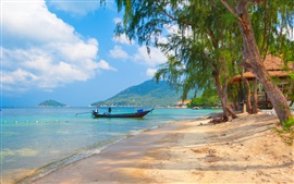 Thailand, Tao beach, boat, sands, trees, sea, clouds