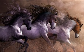 Preview wallpaper Three horses running, grass