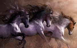 Três cavalos correndo, grama