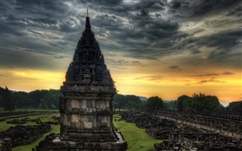 Travel to India, temple, stones, dusk