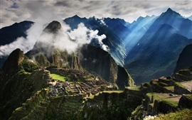 Travel to Peru, Machu Picchu, mountains, fog, morning, sun rays