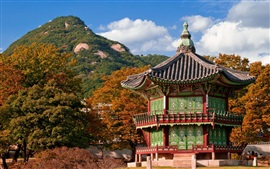 Travel to South Korea, pagoda, house, mountain, trees, park