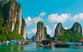 Travel to Vietnam, Halong Bay, boats, mountains, clouds
