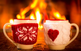 Preview wallpaper Two cups, mitten, winter, fire