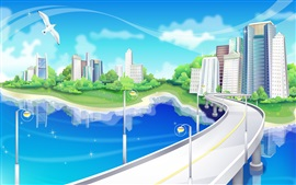 Preview wallpaper Vector design, city, bridges, roads, houses, seagulls