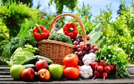 Preview wallpaper Vegetables and fruits photography, apples, tomatoes, cucumber, grapes, garlic