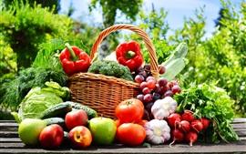 Legumes e frutas fotografia, maçãs, tomates, pepino, uva, alho
