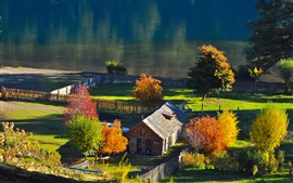 Village, house, trees, river, sunshine, autumn